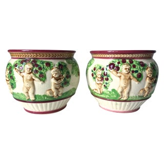 Pair Majolica Antique Planters With Cherubs