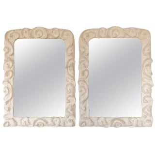 Sculpted Plaster Mirrors - A Pair