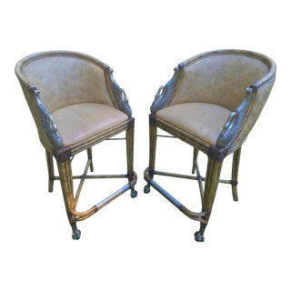 Hollywood Regency Swan Accent Barstools