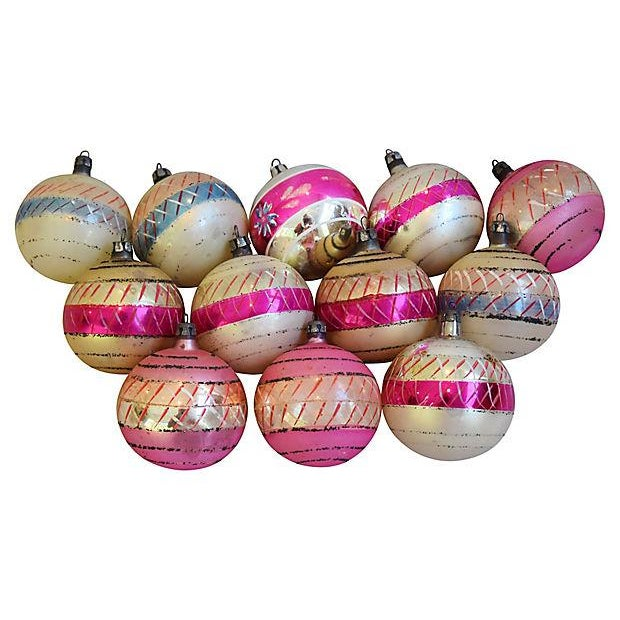 Pastel Pink 1960s Christmas Ornaments w/Box - Set of 12 - Image 5 of 7