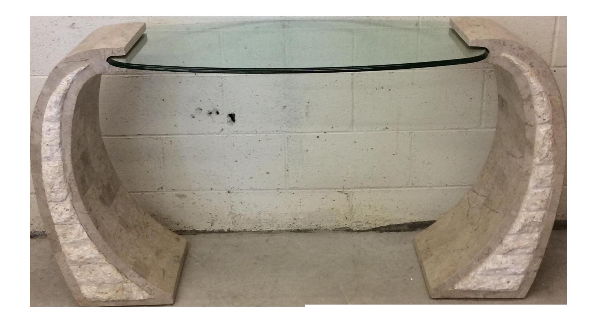 Maitland Smith Tessellated Stone Base U0026 Glass Top Console Table   Image 1  ...