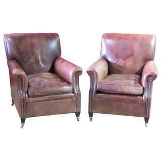 Leather Lounge Chairs- A Pair