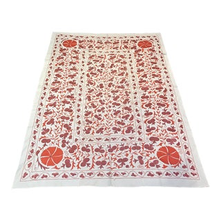 Red Suzani Vintage Fabric, Suzani Bedspread