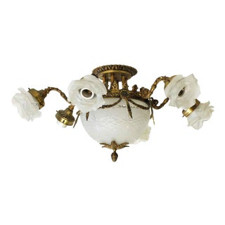 6-Light Victorian Light Fixture with Floral Glass Shades
