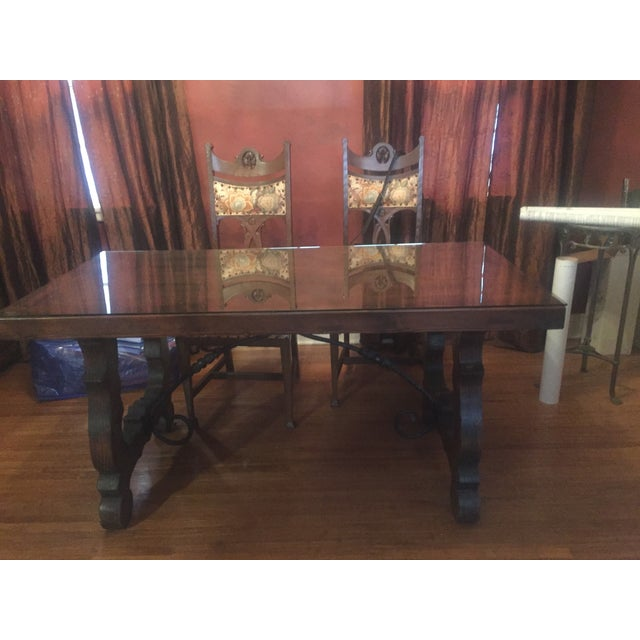 Spanish Custom Carved Wrought Iron & Wood Table - Image 2 of 4