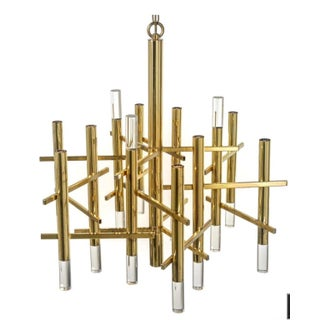 Sciolarli Italian Brass And Lucite Chandelier