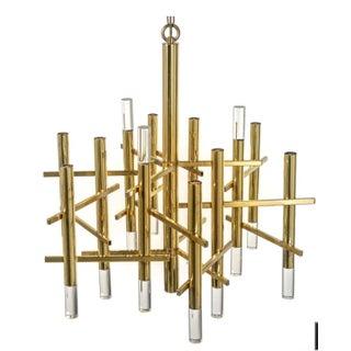 Sciolarli Italian Brass And Lucite Chandelier