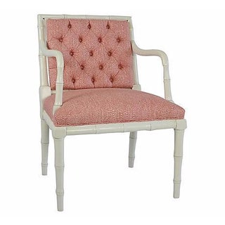 Tufted Faux-Bamboo Coral Accent Chair