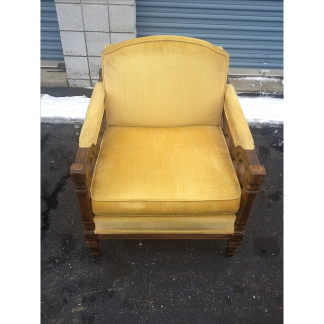 Mid-Century Thomasville Velour Club Chairs - Pair - Image 4 of 8