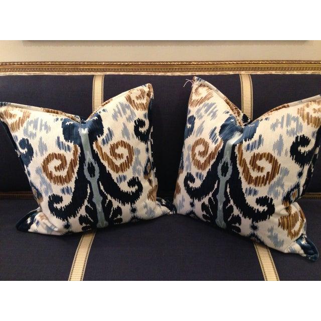 Image of Cut Velvet Blue & Gold Pillows - a Pair