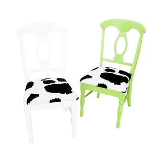 Cow Print Chairs in Green and White- A Pair