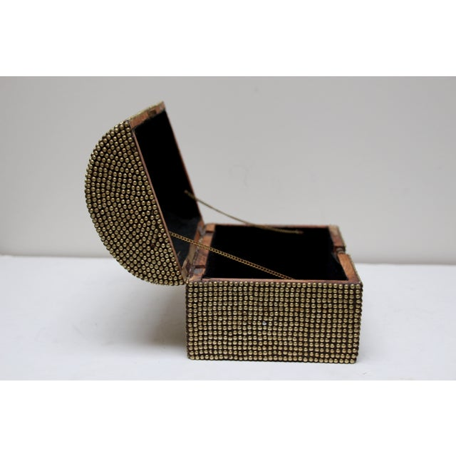 Brass Studded Tabletop Trunk - Image 8 of 9