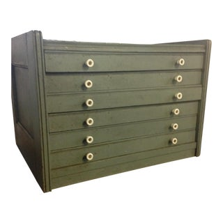 Old Painted Spool Cabinet with Six Drawers