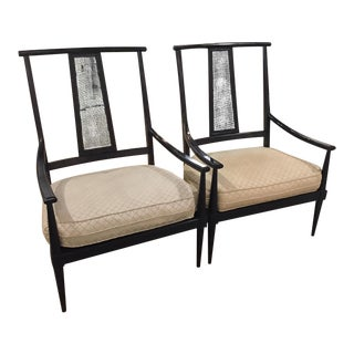 Mid-Century Caned Back Black Lounge Chairs - Pair
