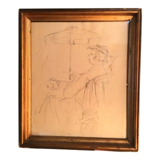 "Vintage ""Le Gentilhomme Au Cafe"" Original Graphite Drawing"