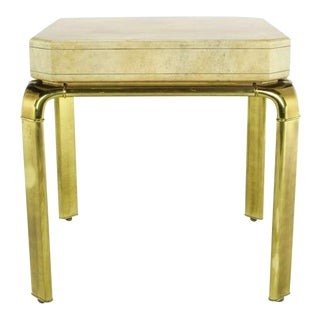 John Widdicomb Cream Goatskin Side Table On Canted Brass Legs