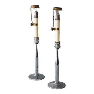 Sarreid Ltd Industrial Chromed Candle Holders - A Pair