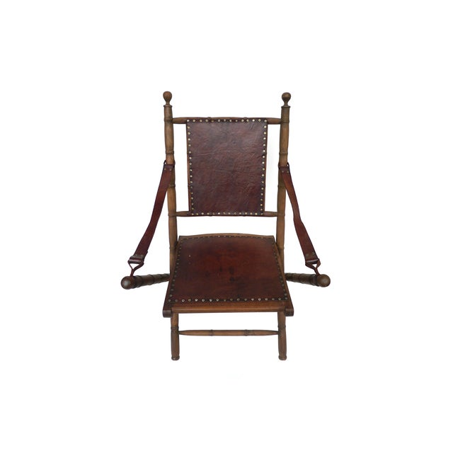 Image of Campaign Style Leather & Ash Folding Chairs - Pair