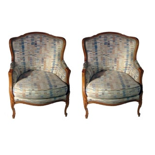 Mid-Century French Bergere Accent Chairs - A Pair