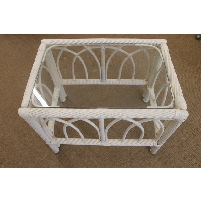 Image of White Vintage Cane End Tables - A Pair