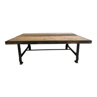 Cast Iron Industrial Reclaimed Wood Coffee Table