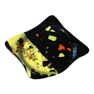 Contemporary Abstract Art Glass Dish
