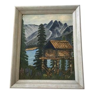 Log Cabin & Mountain Lake Painting