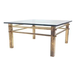 Square Brass & Glass Top Coffee Table