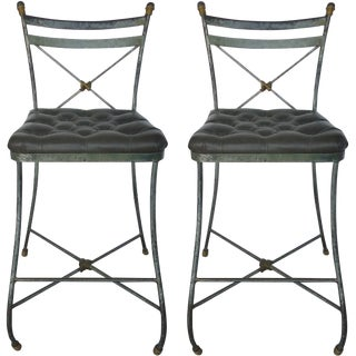 Forged Iron Tufted Bar Stool - Pair