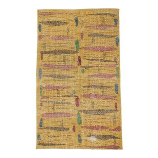 Vintage Turkish Zeki Muren Yellow Deco Rug - 5′2″ × 8′6″
