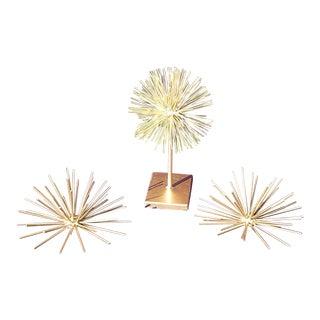 Mid-Century Atomic Gold Metal Starburst - Set of 3