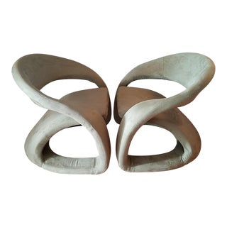 Sculptural Cantilevered Ribbon Lounge Chairs - A Pair