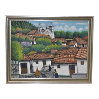 San Antonio de Oriente Oil Painting by Jose Antonio Velasquez Circa 1970