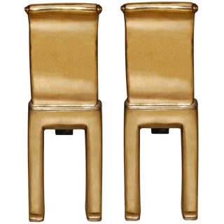Pair of Scroll Cast Bronze Andirons by Nancy Ruben for Craig Van Den Brulle