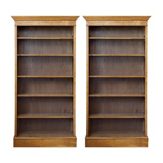 English Tulipwood Inlaid Yewood Bookcases- A Pair