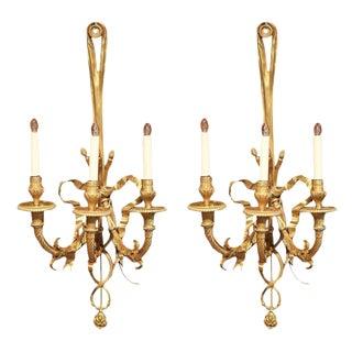 19th Century French Louis XVI Bronze Three-Light Sconces - A Pair