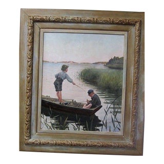 "Vintage ""Boys Fishing"" Signed Oil on Canvas by Listed European Artist"