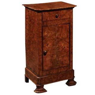 English Burl Wood Pot Cupboard from the 1880s with Single Drawer and Door
