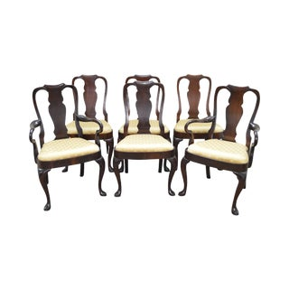 Hickory Chair Co. Set of 6 Mahogany Queen Anne Style Dining Chairs