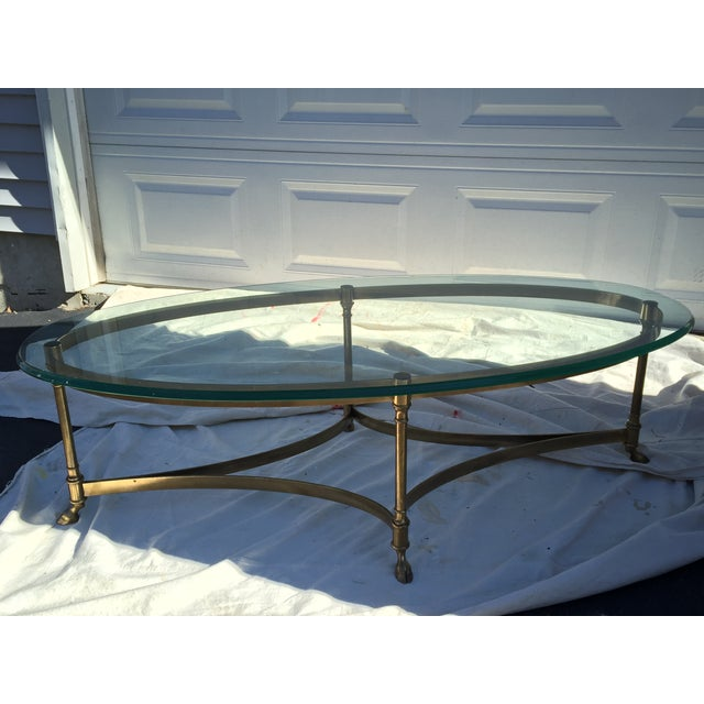 Image of LaBarge Oval Hoofed Brass Coffee Table