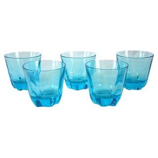 Vintage Aqua Rocks Glasses - Set of 5