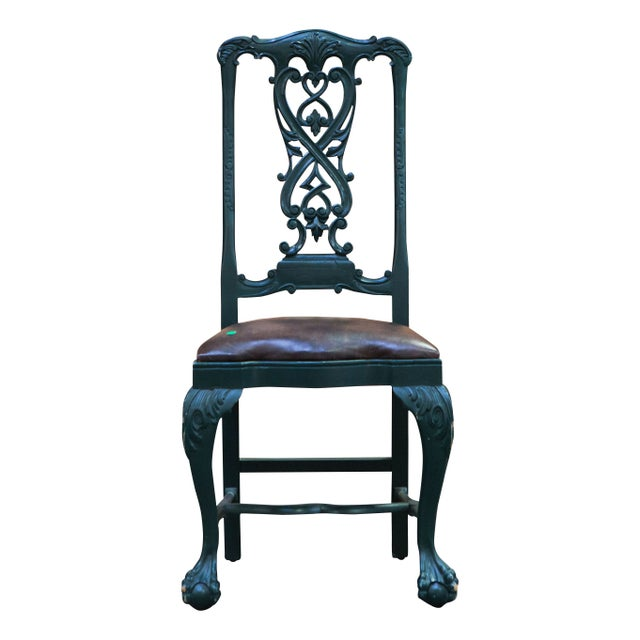 19th Century Green Painted Dining Chair With Leather Seat