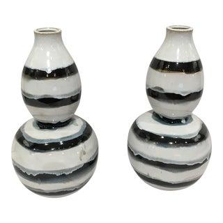 Black & White Striped Vases - a Pair