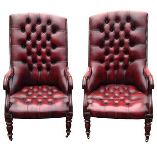 William IV Mahogany & Tufted Red Leather Library Chairs - Pair