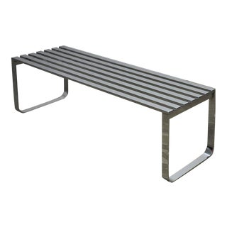 Chrome Slat Bench by Milo Baughman