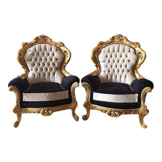 Louis XVI French Chairs in Black & White - A Pair
