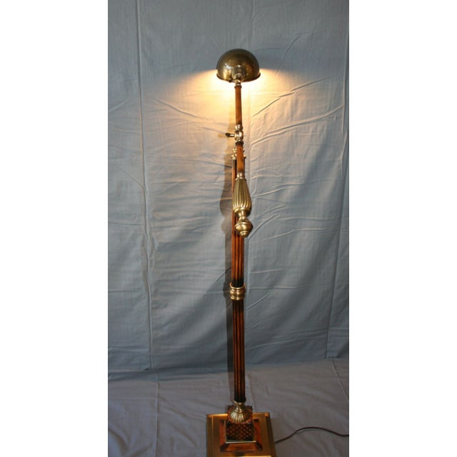 Image of Wood & Bronze Floor Lamp