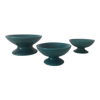 Vintage Mid Century Modern Teal Ceramic Pedestal Bowls - 3 Piece Set