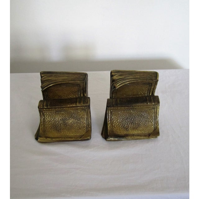 Vintage Bookends In Gold Metal Book Shape Chairish
