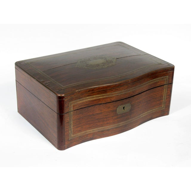 Image of Antique Mahogany and Brass Silver Chest Box